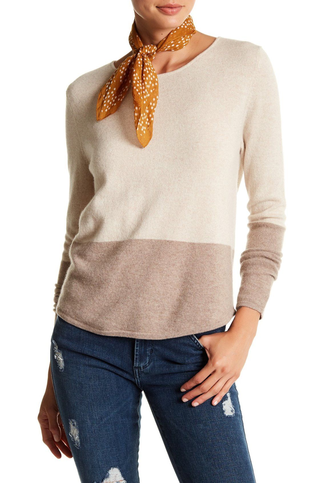 Love this Two Tone Kier & J Colorblock Cashmere Sweater | Fall ...