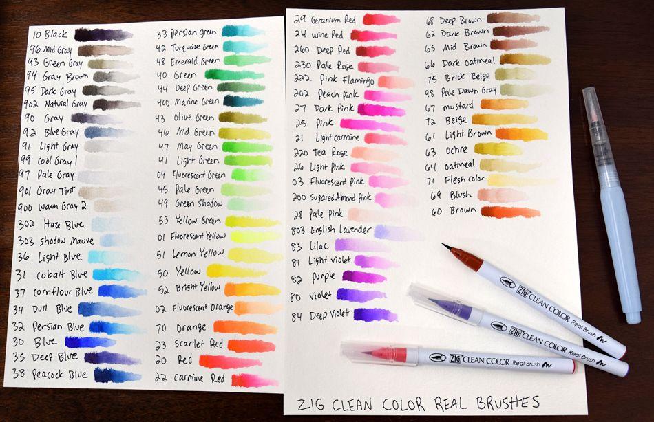 030-038 302-303 Blue range ZIG Kuretake Clean Colour Real Brush Pen