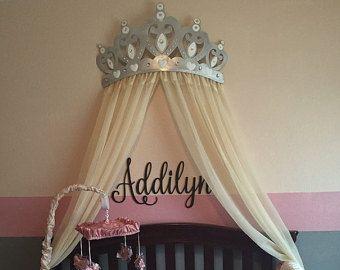Princess Wall Decor crib canopy, bed crown black and gold princess wall decor | bed