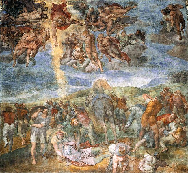 De bekering van Paulus - Michelangelo - Cappella Paolina, Vaticaan - Paulus wordt getroffen door een licht uit de hemel.