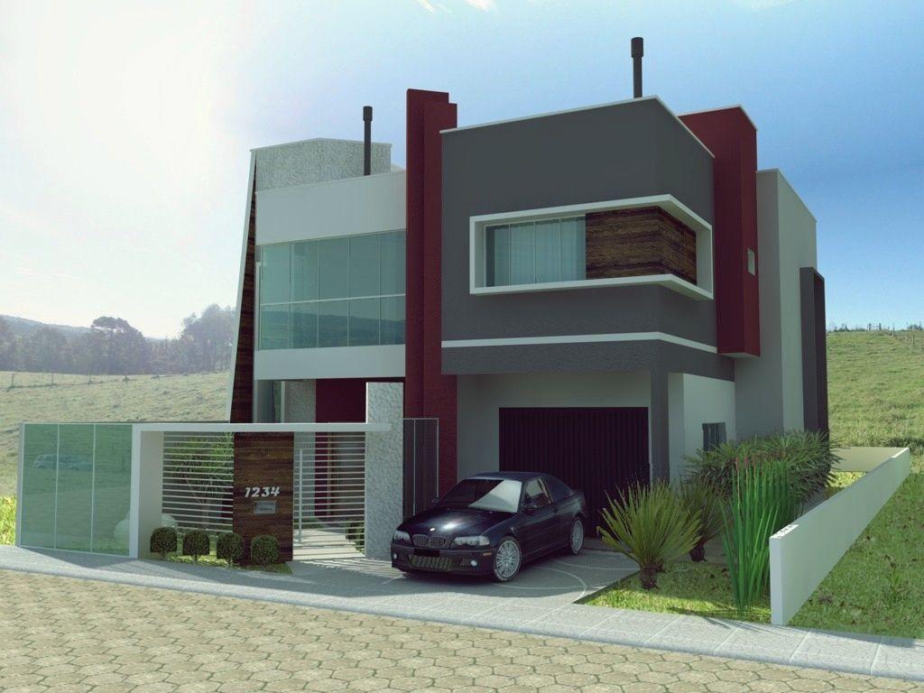 Wallpapers fachada de viviendas casa moderna d aislada en for Fachada de casas modernas