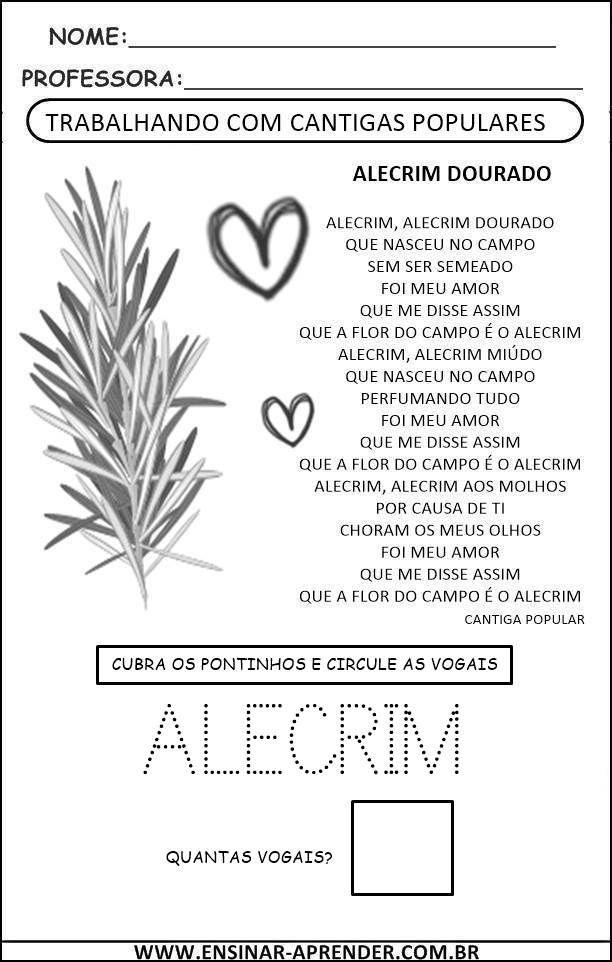 Alecrim Cantiga 1 Com Imagens Musica Na Educacao Infantil