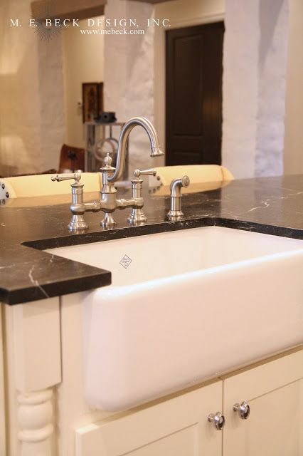 Gorgeous White Cabinets Pair With Polished Nickel Hardware Highlighting A Shaw  Original Sink With Bridge Faucet