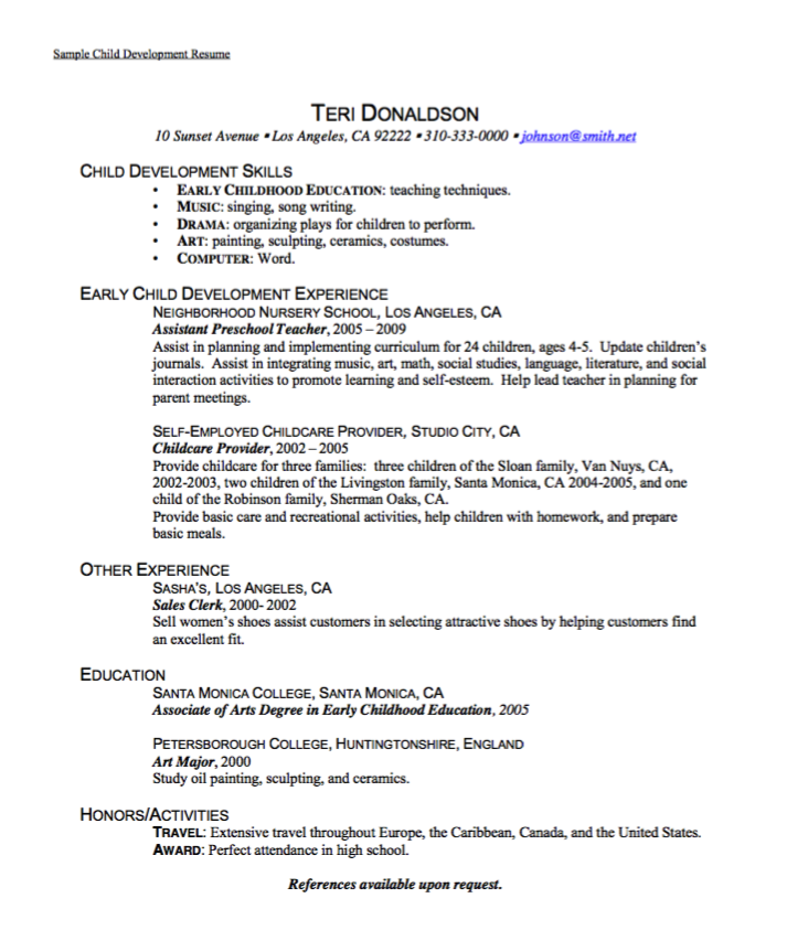 Sample Child Development Resume
