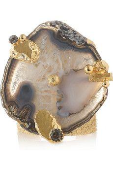 YSL  /Chyc gold-tone agate cuff