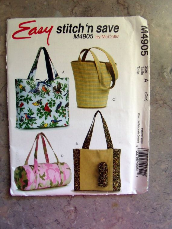 Stitch /'N Save 4905 Bags  Sewing Pattern