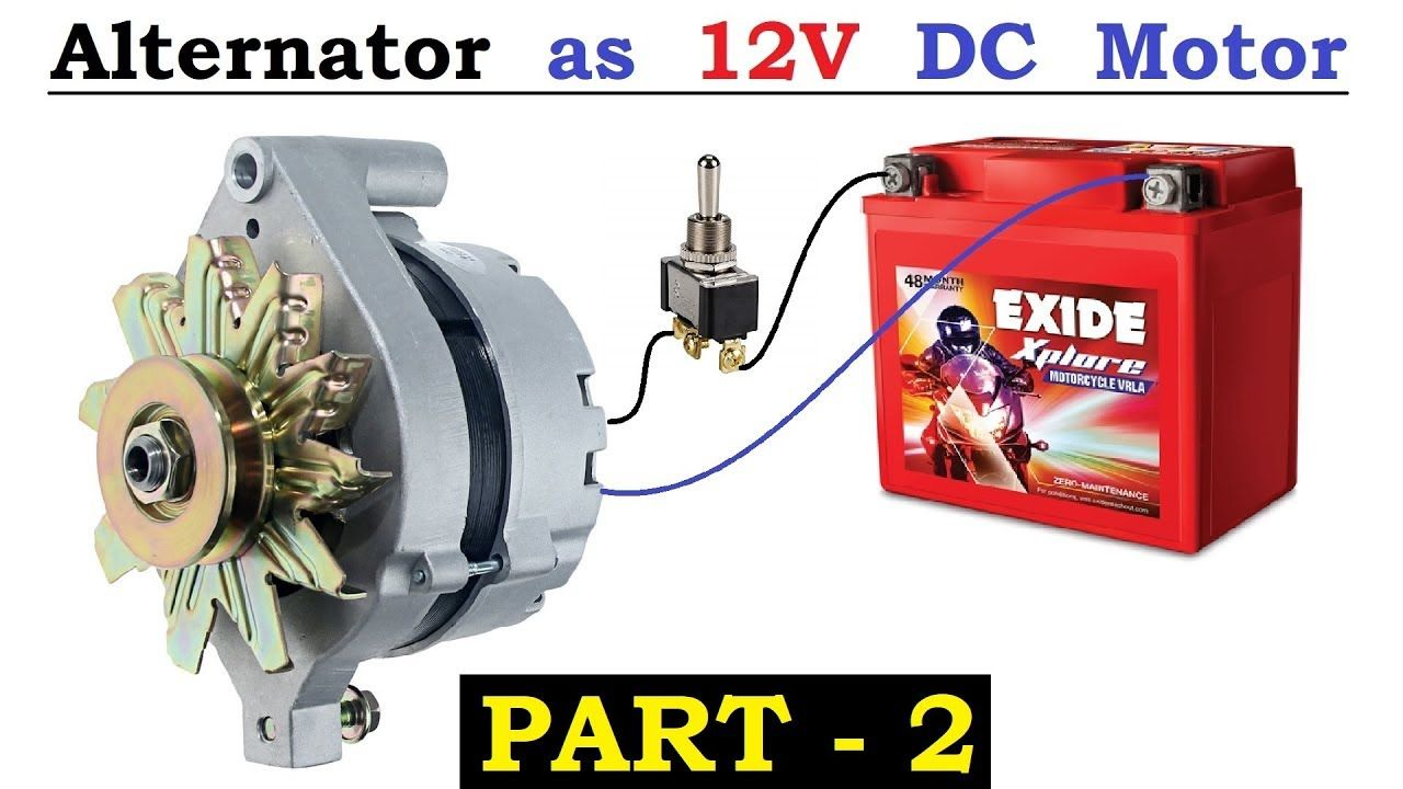12v 120 Amps Car Alternator Converted To Dc Motor With High Torque Using Car Alternator Alternator Motor Generator