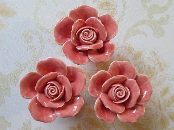 Knobs Rose Flower / Shabby Chic Dresser Knobs / Pink Ceramic Drawer Knobs  Pulls Handles /