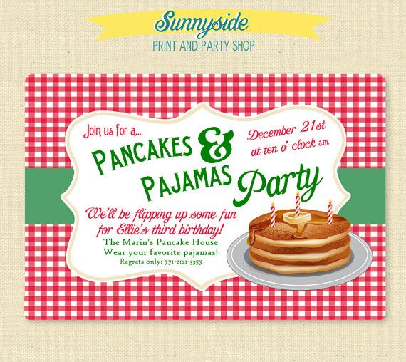 Christmas pancakes pajamas party invite printable invitation christmas pancakes pajamas party invite printable invitation winter holiday filmwisefo Gallery