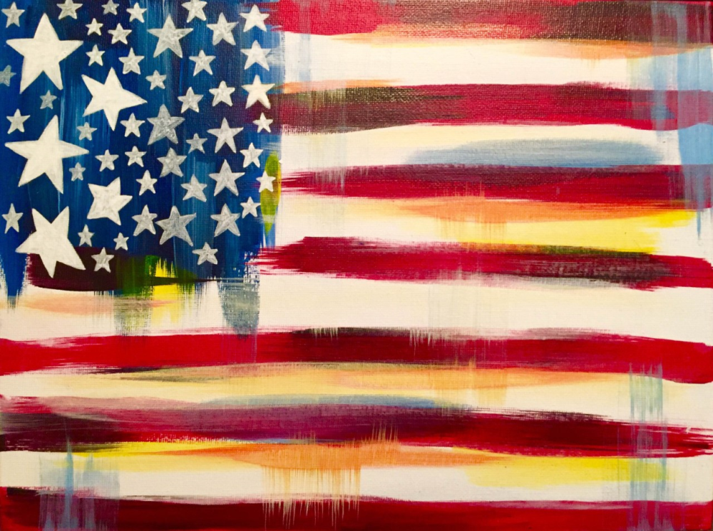 Celebrating America with an artful abstract twist! Join us for this fun patriotic painting on canvas at Pinot's Palette!