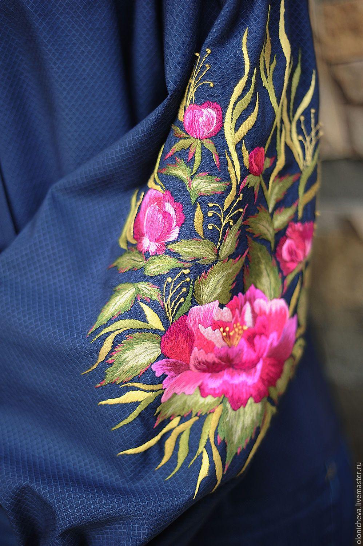 c294a1dac41 Blouses handmade. Elegant embroidered blouse  Flower evening . KVITKA.  Online shopping on My Livemaster. Dark blue
