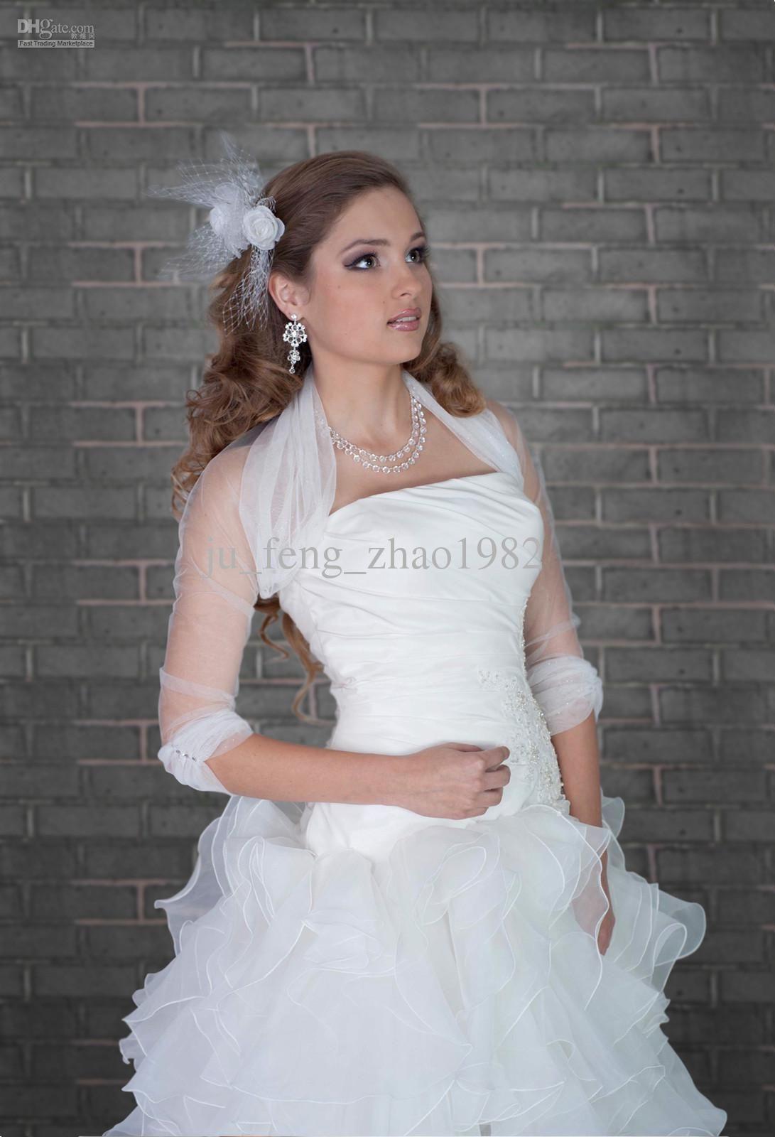 2018 White Ivory New Tulle Jacket Bridal Wrap Shrug Long Sleeve Bolero Wedding Party Prom From Ju Feng Zhao1982 19 1 Dhgate Com
