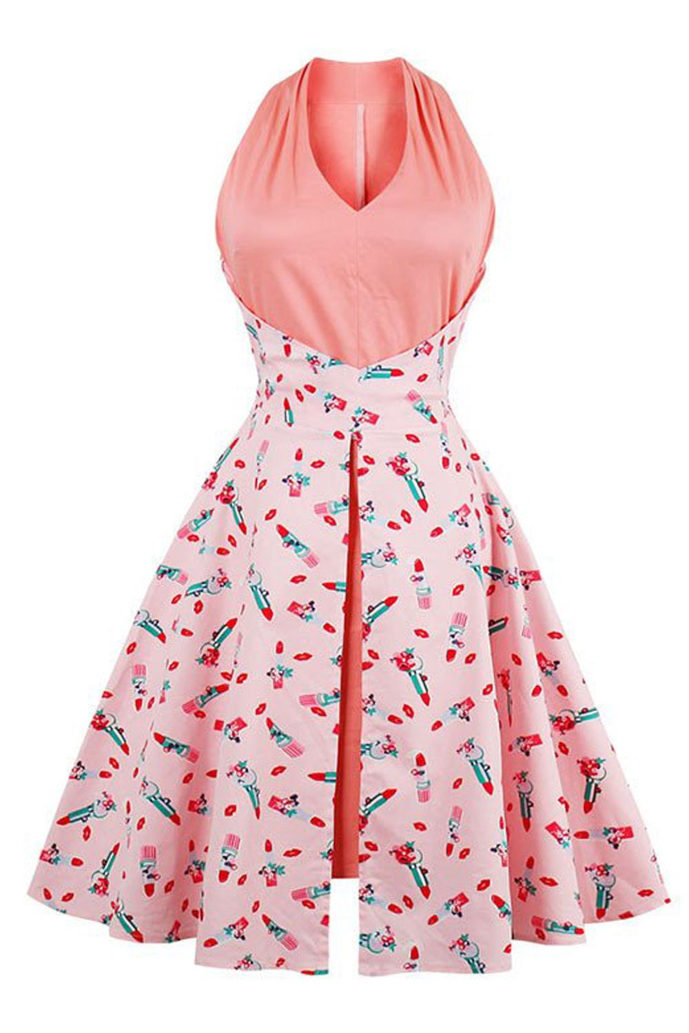 401d3b4152df5 The Atomic Lipstick Kiss Print Swing Dress features a pink retro ...