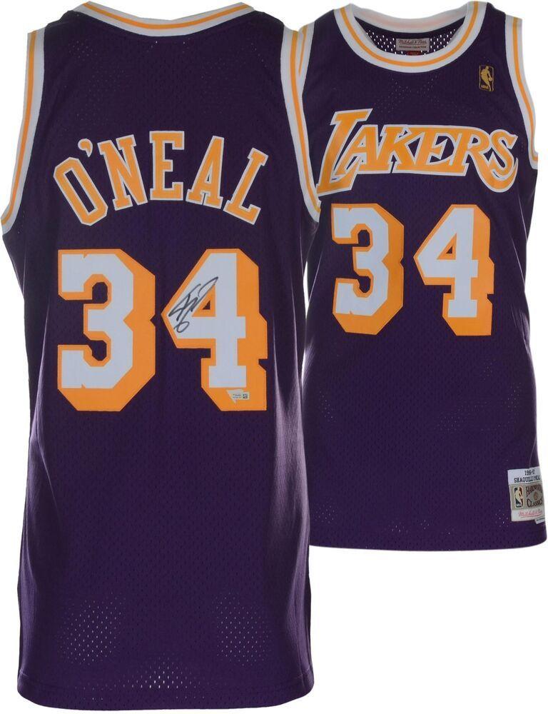 6e4fe493530 Magic Johnson LA Lakers Signed Purple Mitchell   Ness Authentic Jersey   sportsmemorabilia…
