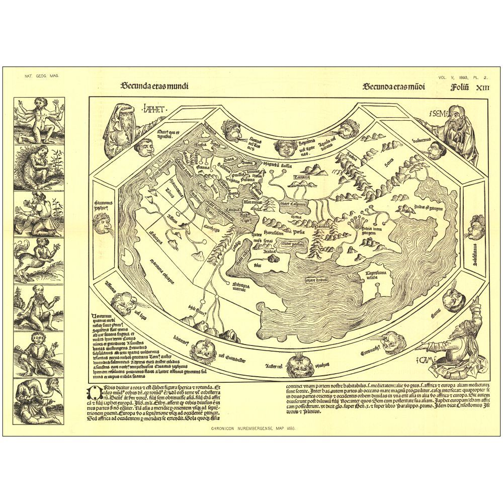 1493 Chronicon Nurembergense Map | National geographic