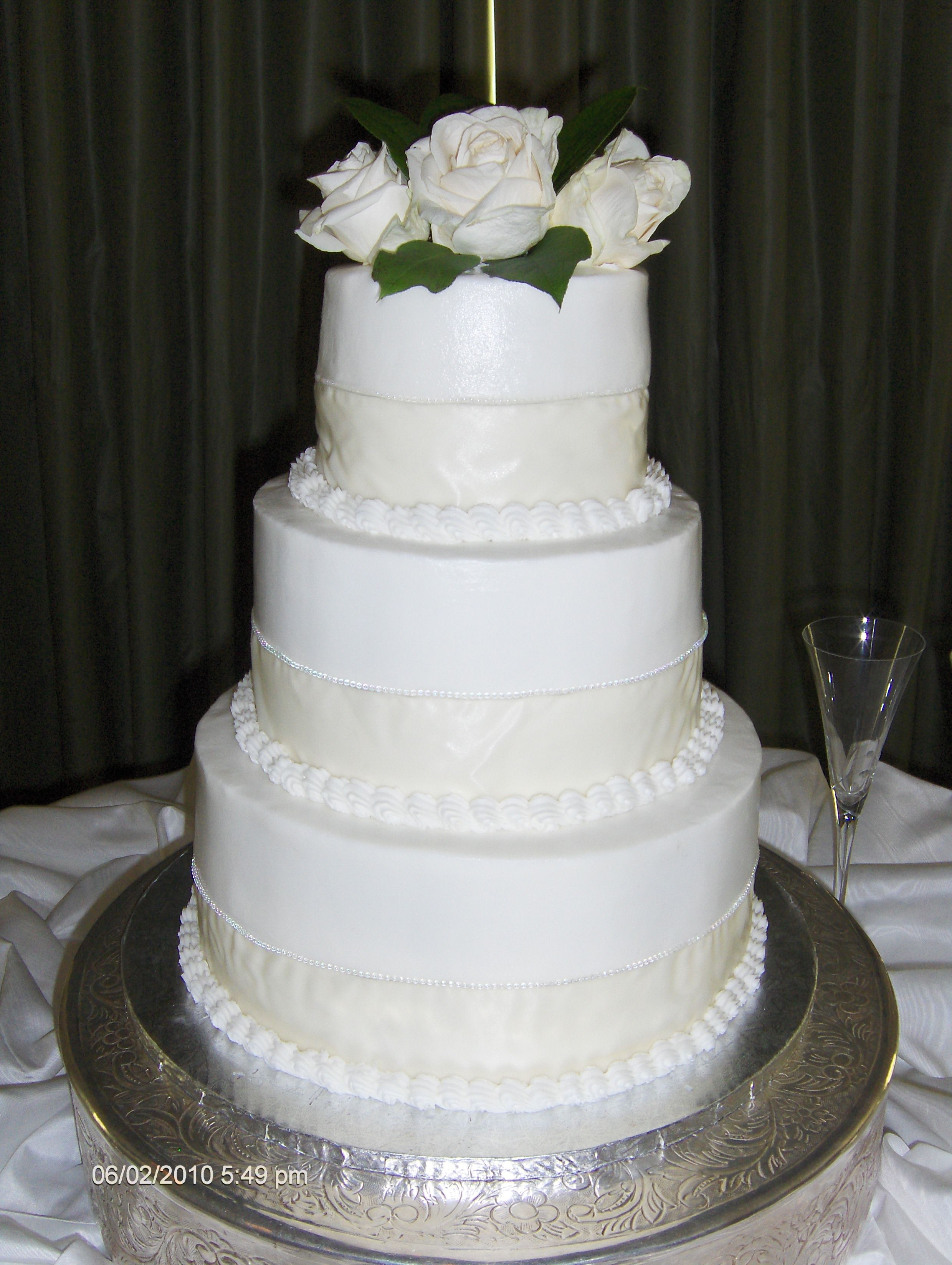 3 Tier Round Wedding Cake with Design and White Roses   Cakes and ...