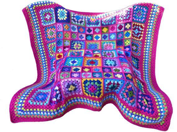 Crochet afghan kaleidoscope granny square, grapefruit red border, 58 ...