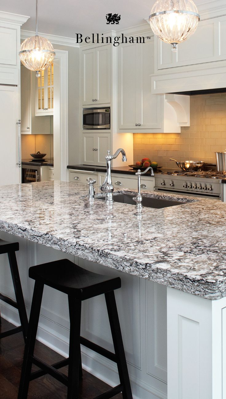 This Large Cambria Bellingham Island Is Ideal For Entertaining And Hosting Be Replacing Kitchen Countertops Grey Granite Countertops White Granite Countertops