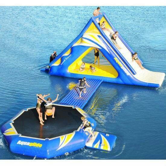 Trampoline + water slide