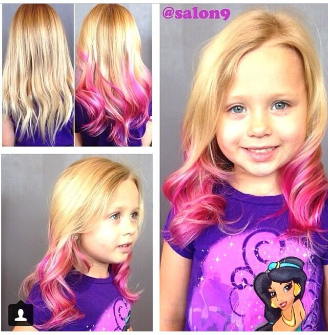Little Girls Can Have Fun With Their Hair Also Pink Ombre Salon9nicole Pink Hair Streaks Kids Hair Color Girl Hair Colors