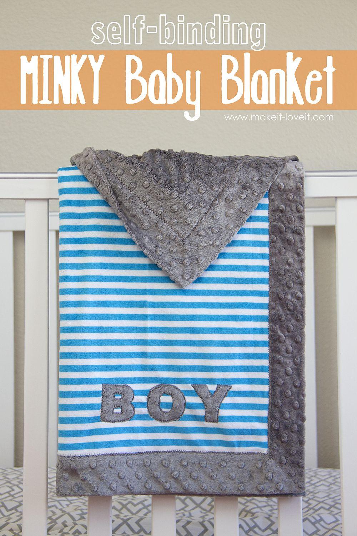 Self Binding MINKY Baby Blanketu2026with applique Self Binding MINKY