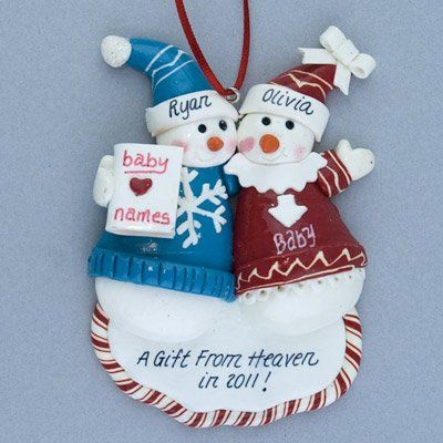 Pregnant Couple Personalized Christmas Ornament -   maternity