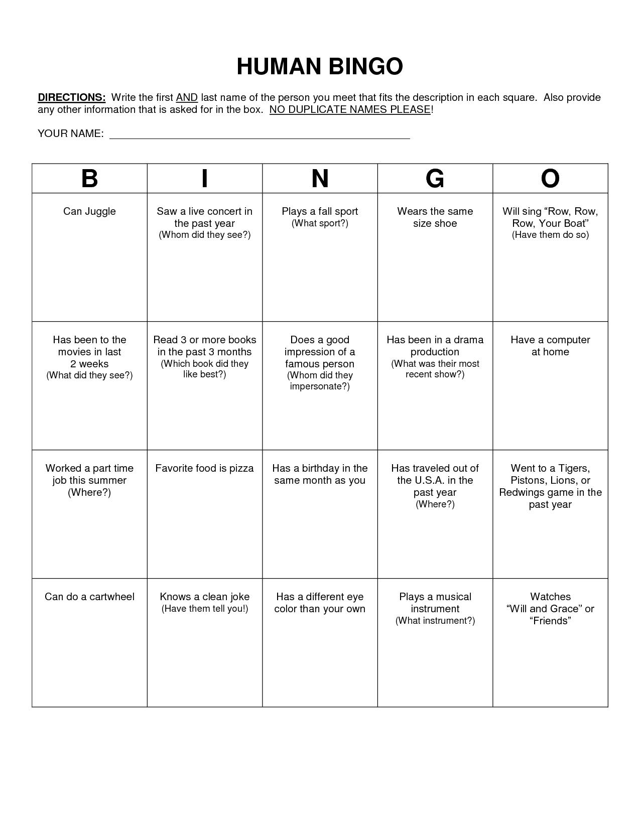 Human Bingo Scavenger Hunt Template Human Bingo Bingo Template Bingo Card Template