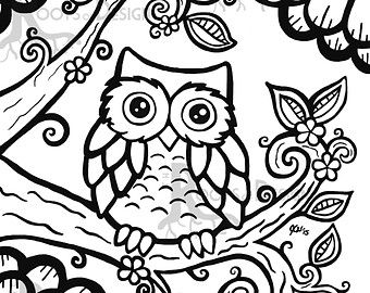retro owl coloring pages | owl coloring page on Etsy, a global handmade and vintage ...