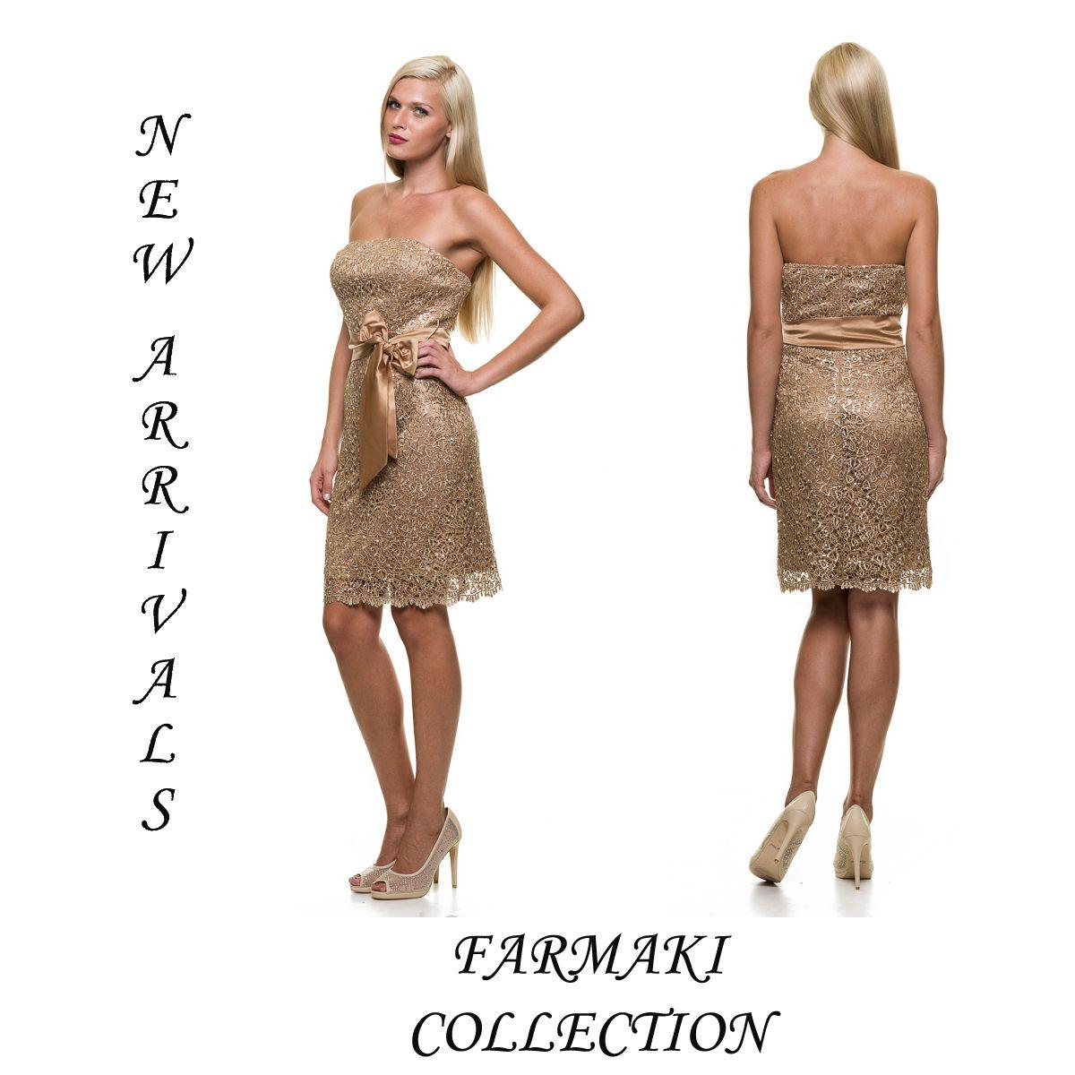 f4e394625f8 Φόρεμα κοντό, ίσια γραμμή, στράπλες ή με ράντες, σατέν ζώνη. 'Υφασμα ...