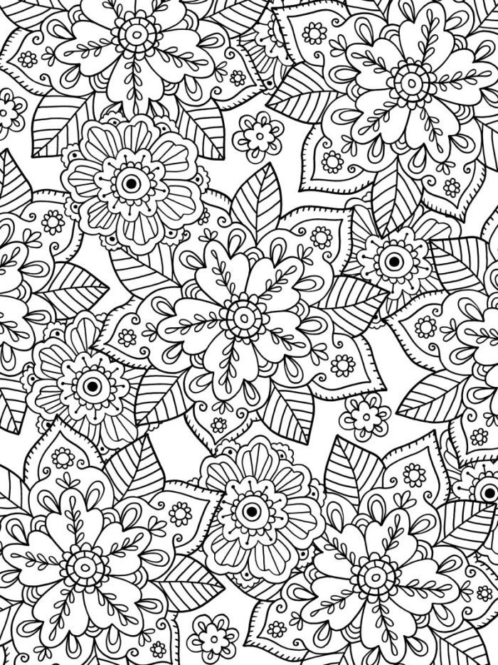 Felicity French - Leafy Floral Print | Mandala Colouring Pages ...