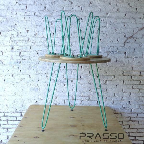 Mesa Banquetas Diseño Minimalista Vintage Hierro Madera | Muebles ...