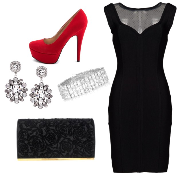 Black Dress With Silver Accessories And A Pop Of Red Suede
