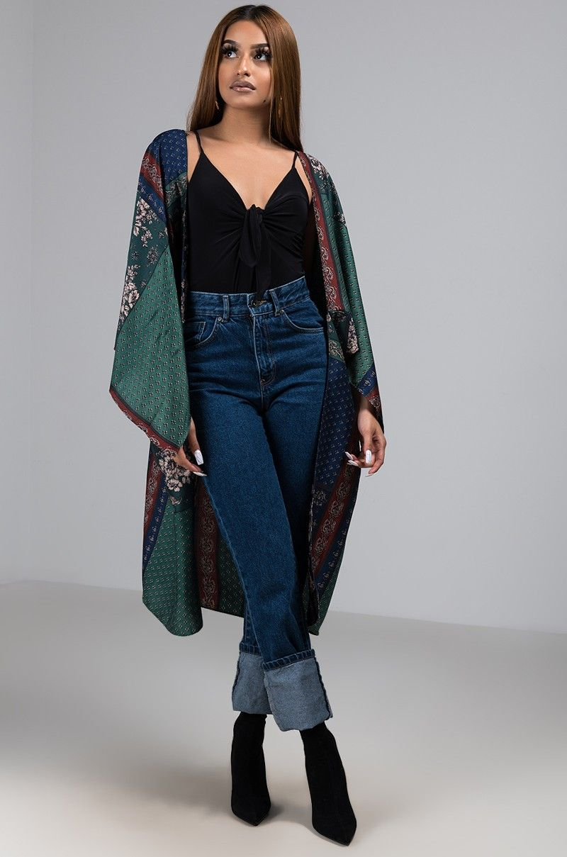fb850d93 Front View Light As A Feather Kimono in Olive Multi Mom Jeans, Duster Coat,