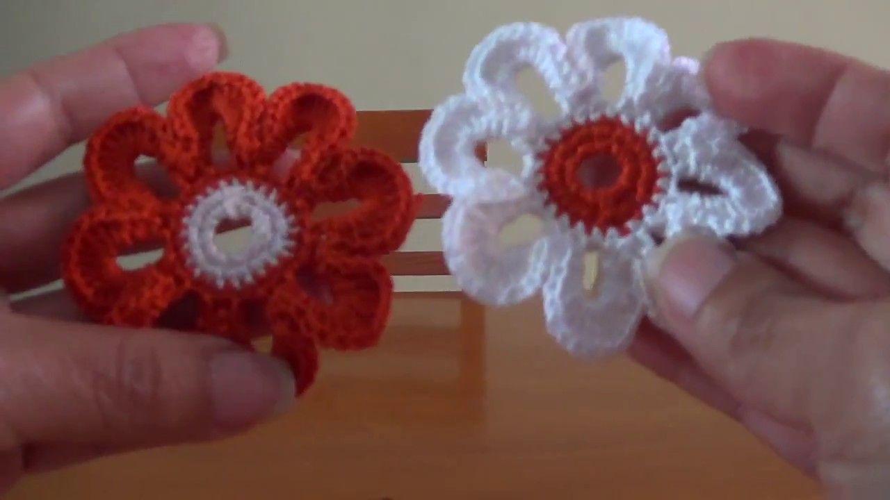 Flor 5 para saco con flores a crochet, ganchillo | Crochet ...