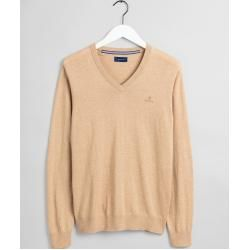 Photo of Gant V-neck sweater with elbow patches (beige) Gant