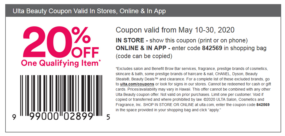 Ulta Coupon 3 50 Promo Code May 2020 20 Off Any One Qualifying Item More Ulta Coupon Ulta Beauty Coupons