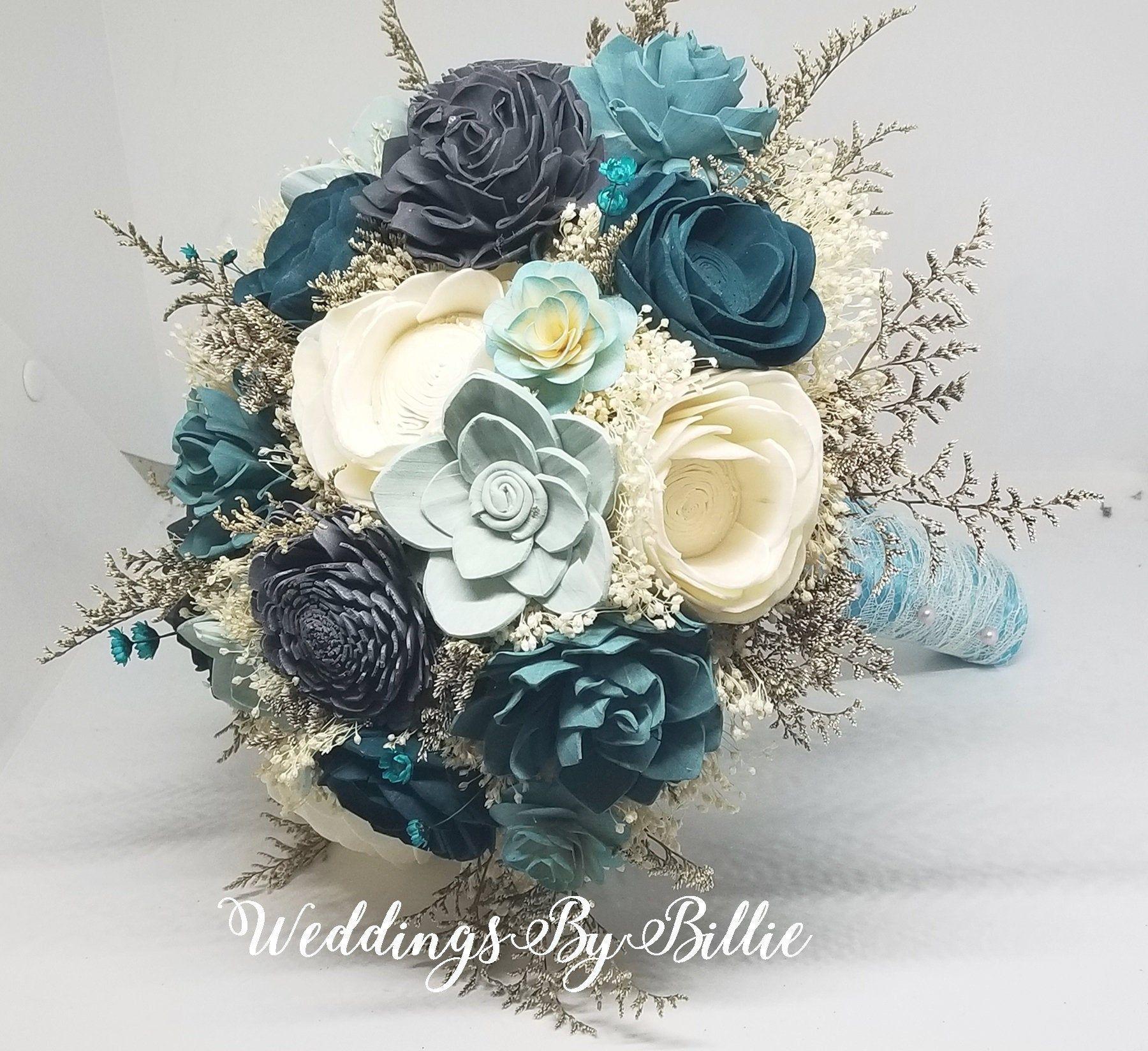 Sola Flowers  gray colors Bridesmaid bouquet Wedding Bouquet Sola flowers Handmade Natural Wedding Bouquet Bridal Bouquet