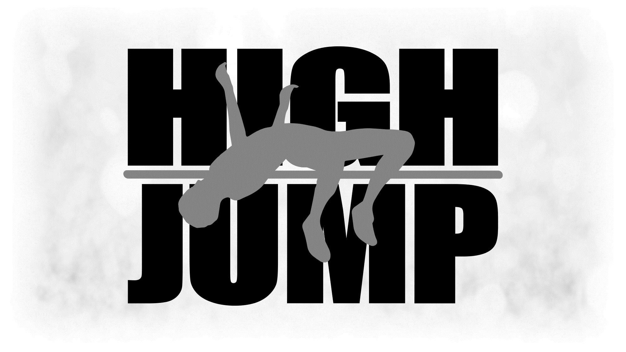 Sports Clipart Large Black White Track Field Words Etsy Track And Field High Jump Clip Art