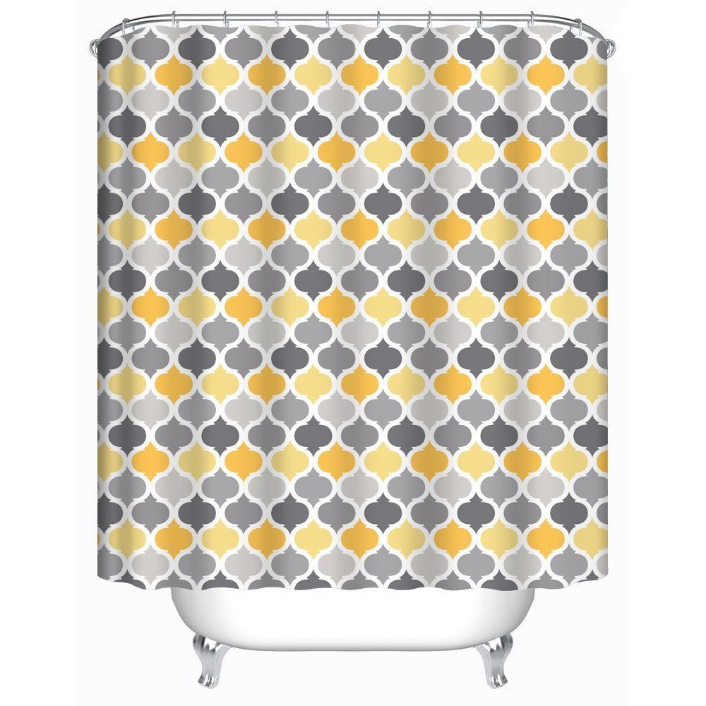 Uphome moroccan fabric shower curtain grey and yellow damask trellis
