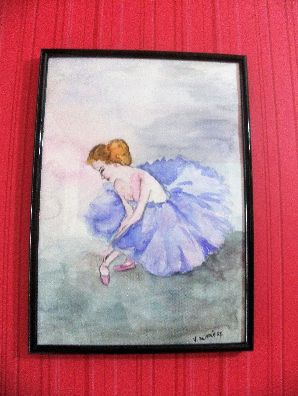 Aquarelle Originale Ballerine Peinture Pastel Danseuse Aquarelle