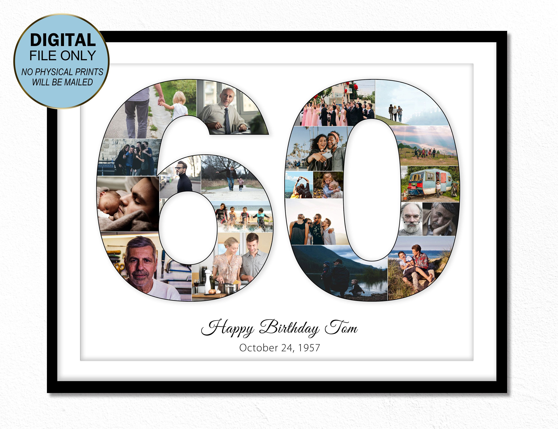 Photo of 60 60 birthday gift 60 60 birthday number photo collage …