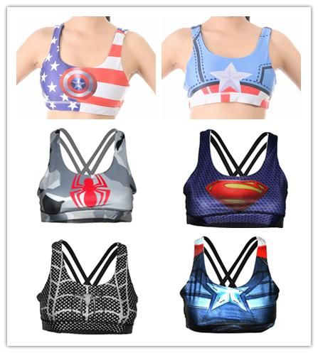 c9b6501c41 Free Women Sports Bra Undertop Running Lulu Underwear Superhero Superman  Batman Spiderman Captain America Engrey Bras Tank Tops From Q949501433