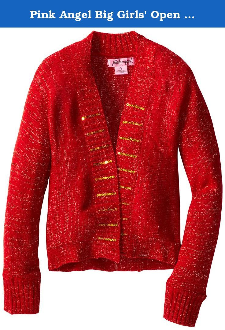 Pink Angel Big Girls' Open Cardigan with Sequins, Red, Medium ...