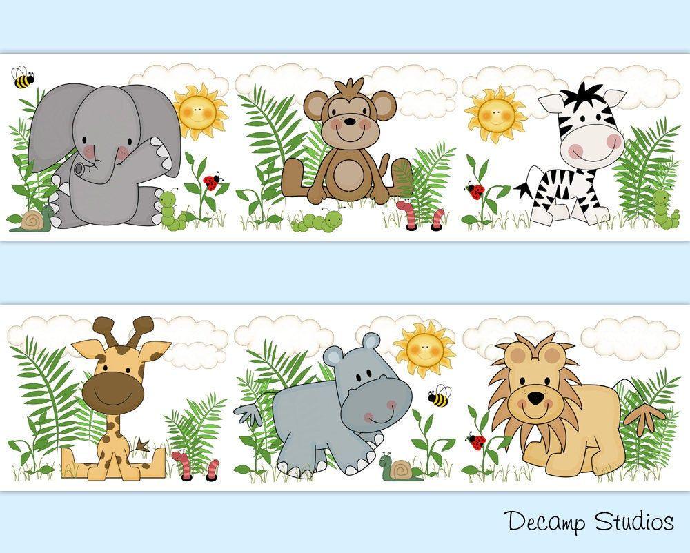 SAFARI ANIMALS DECOR Baby Girl Boy Nursery Wallpaper ...