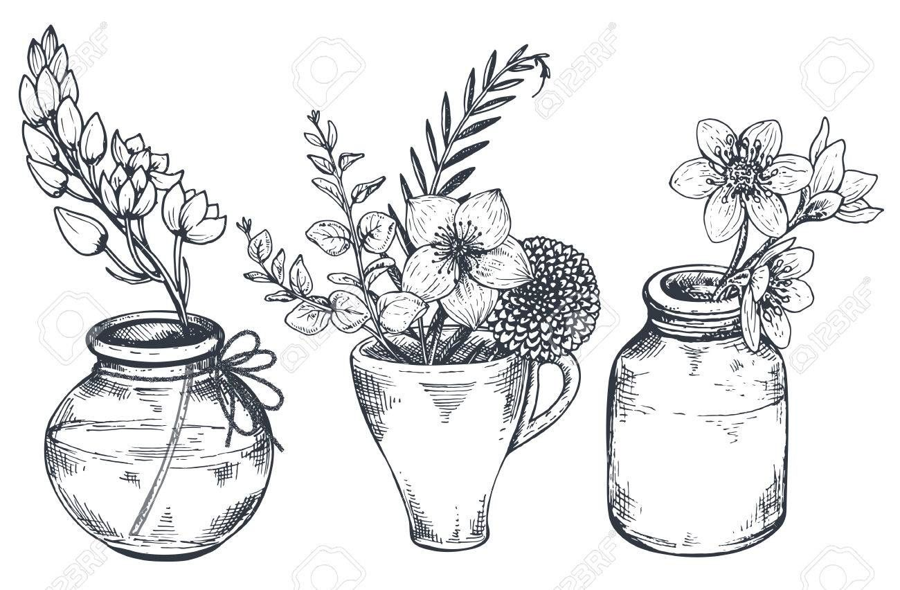 Set Von Floralen Kompositionen Bouquets Mit Hand Gezeichneten Blumen Und Pflanzen In Den Vasen Und Glaser Monochrom Vektor Illustrationen In Skizze Stil Blumen Zeichnen Blumenzeichnung Stilleben Zeichnen