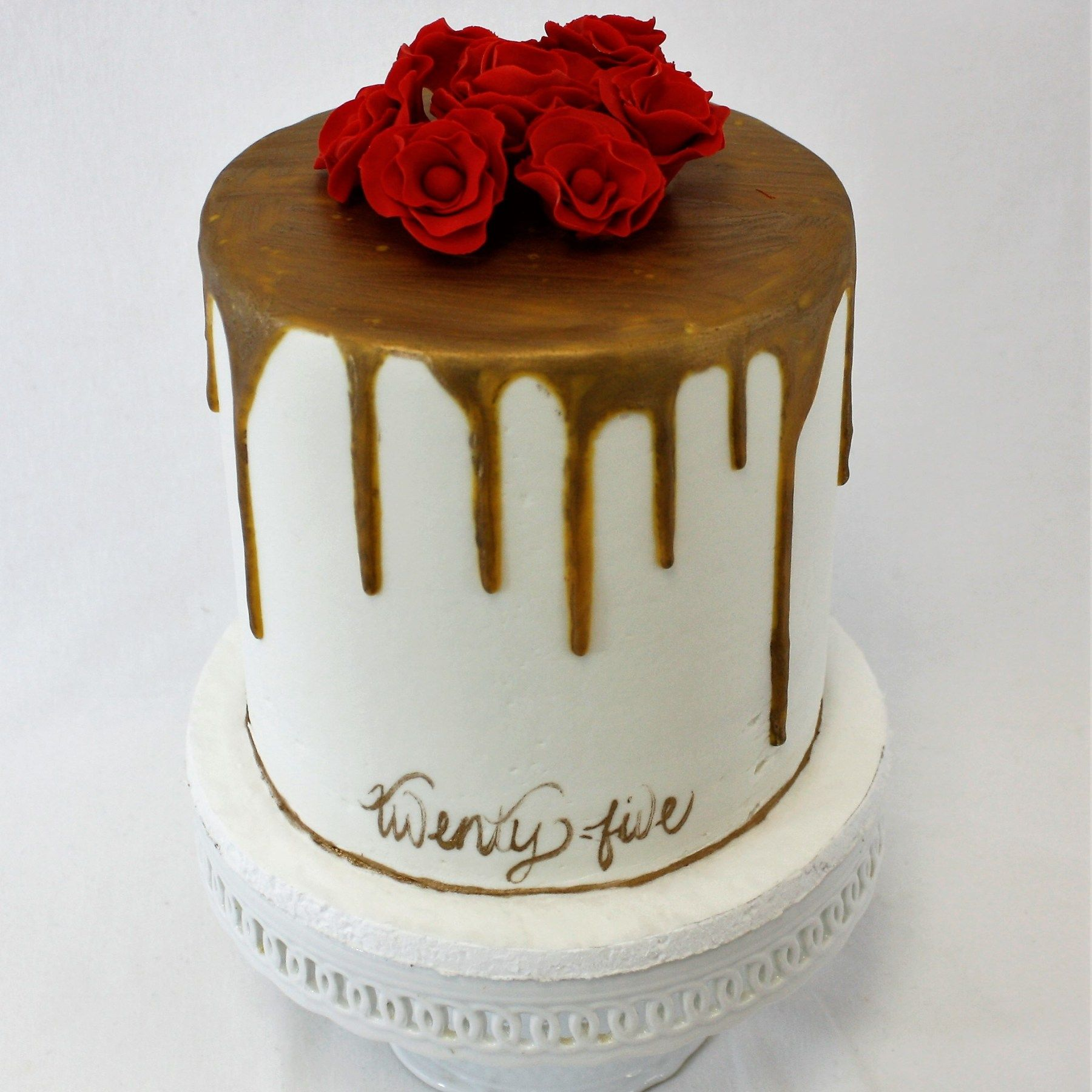 Triple Layer Old Gold Drip Red Rose Birthday Cake FB-125 Triple Layer Gold Drip Cake  Confection Perfection Cakes - Online Ordering