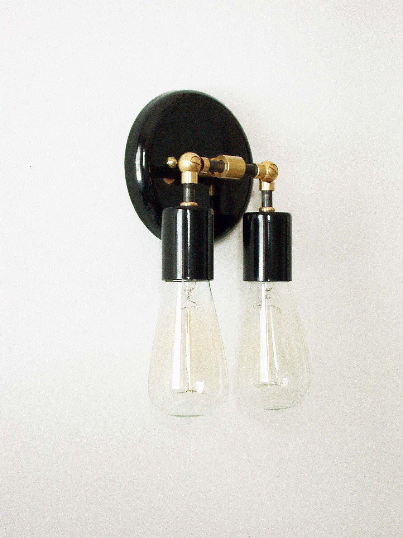 Double modern wall sconce black brass wall lamp mid century sconce black sconce wall fixture bedroom