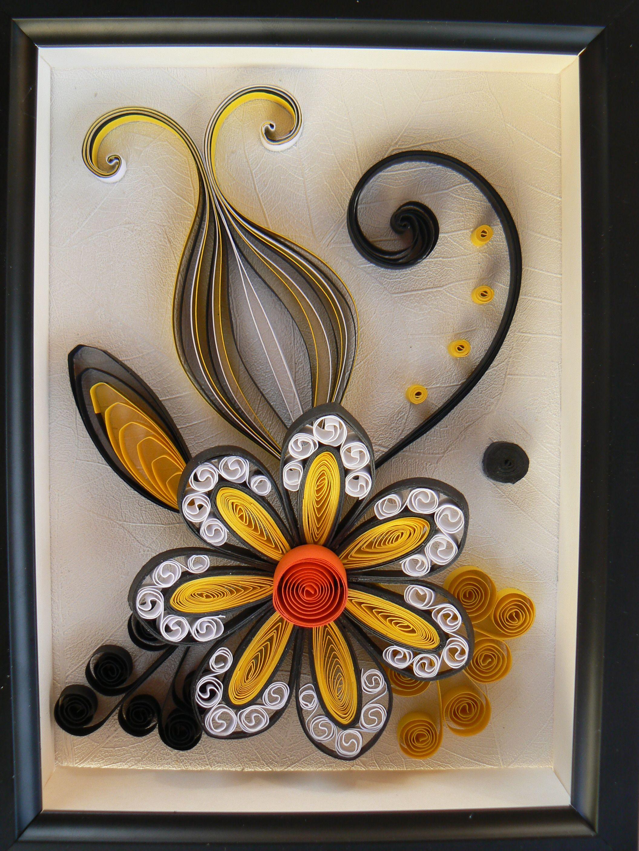 Fleur Jaune Et Noire With Images Quilling Designs Quilling 3d Quilling Flowers