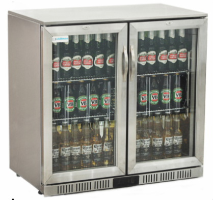 Undercounter Bottle Cooler 2 Hinge Doors Stainless Steel Bottle Coolers Adjustable Shelving Hinges