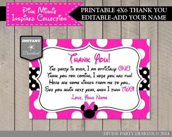 INSTANT DOWNLOAD Pink Minnie Inspired One Year Old 4x6 Thank You ...